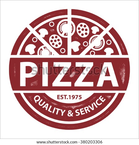 Vintage Vector Pizza Logo, Label Stamp isolated on white background - stock vector