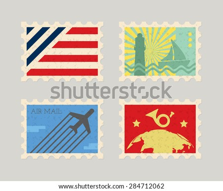 Vintage vector post stamps - stock vector