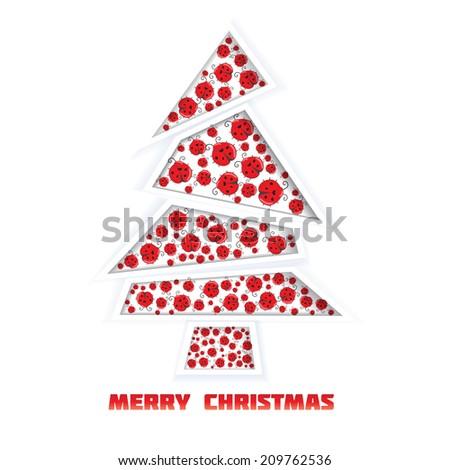 vintage vector retro Christmas card with christmas tree - stock vector