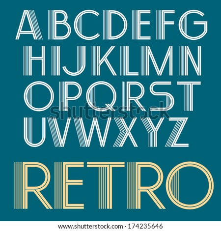 Vintage vector retro font. Retro Typography. Art deco type -1  - stock vector