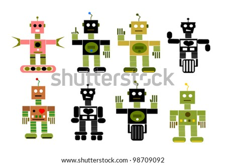 vintage vector robot collection - stock vector