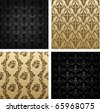 vintage vector seamless background brown black baroque Pattern - stock vector
