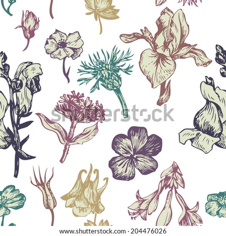 vintage vector seamless floral pattern, hand drawn illustration, ornament with flowers