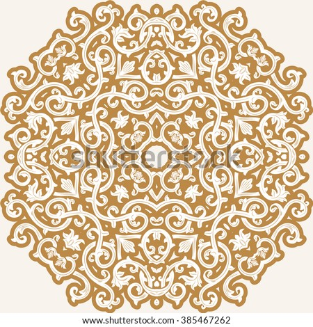 Vintage vector seamless pattern in east style.Place for text.Ornate element for design.Use for decoration wallpaper , design postcards , fabric .