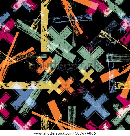 Vintage Vector Seamless Pattern . Seamless Texture .  Geometric Shapes in Grunge Style .  - stock vector