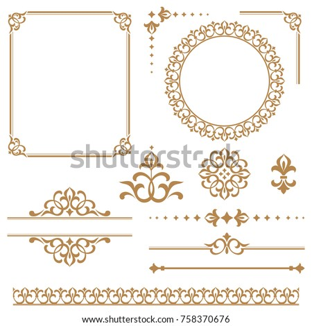Vintage vector Set. Floral elements for design monograms, invitations, frames, menus and labels. Graphic design of the website, cafes, boutiques, hotels, wedding invitations