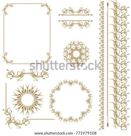 Vintage Vector Set Floral Elements Design Stock Vector (2018 ...