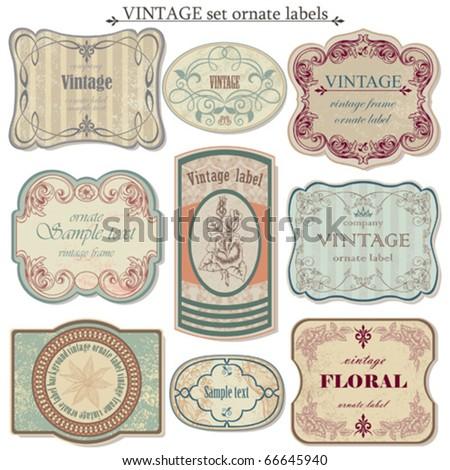 Vintage vector set labels - stock vector