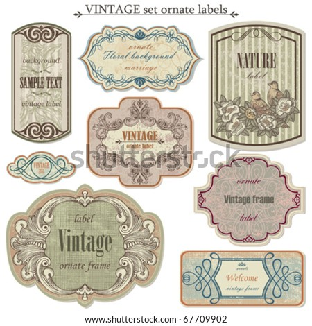 Vintage vector set labels - stock vector