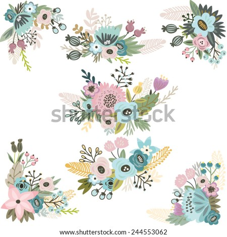 Vintage Vector set of floral compositions in gentle colors. - stock vector