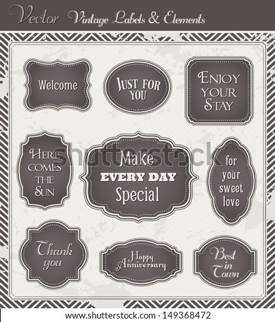 Vintage Vector set of labels and graphic design elements - stock vector