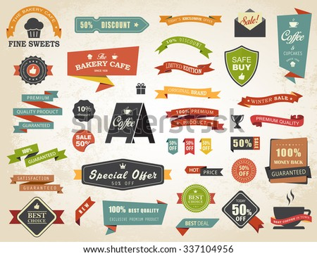 Vintage vector set of  labels banners tags stickers badges design elements./Label Banner Tag Sticker Badge Vintage Vector Set/Label Banner Tag Sticker Badge Vintage Vector Set - stock vector