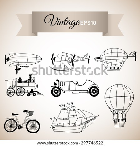 Vintage vector set with retro transport. - stock vector