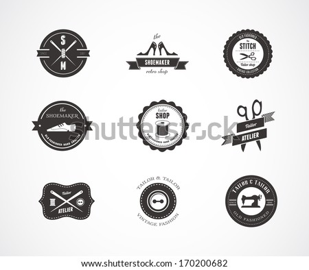 Vintage vector sewing labels, elements and badges with retro styled design - stock vector