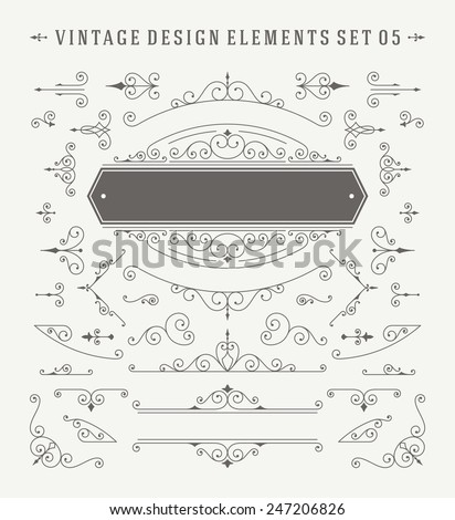 Vintage Vector Swirls Ornaments Decorations Design Elements. Flourishes calligraphic combinations retro design for Invitations, Posters, Badges, Logotypes and other design. - stock vector