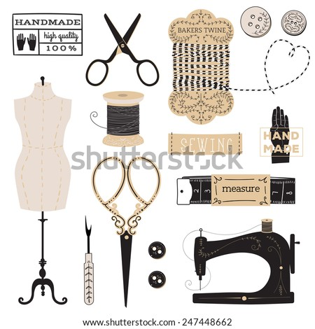 Vintage vector tailor's tools - scissors, measuring tape, mannequin, etc. And logo and label collection - stock vector