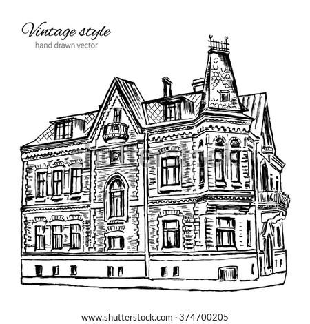 Vintage Vector Tile Old European House Hand Drawn Mansion Graphic Illustration Historical Building