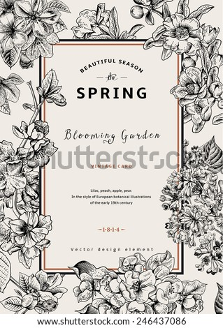 Vintage vector vertical card spring. Black and white blooming branches of lilac, peach, pear, pomegranate, apple tree. - stock vector