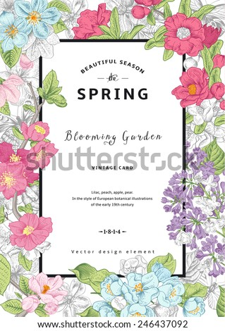 Vintage vector vertical card spring. Colorful blooming branches of lilac, peach, pear, pomegranate, apple on gray background. - stock vector