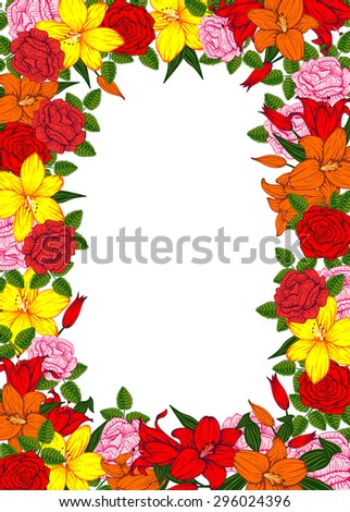 Vintage vector vertical invitation card. Colorful blooming flowers of lilies and roses. - stock vector