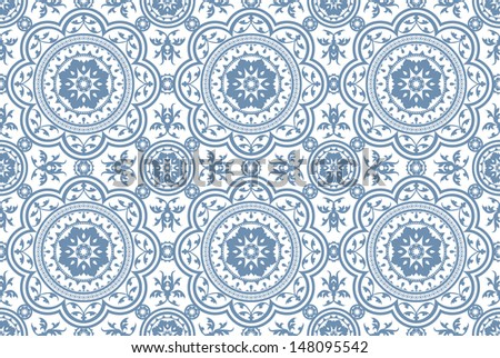 Vintage Victorian Age Blue seamless pattern  - stock vector