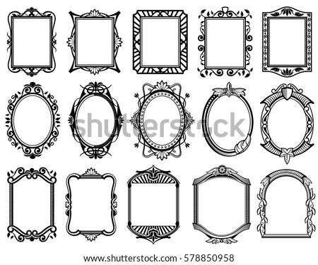 Vintage Victorian Baroque Rococo Frame Mirror Stock Vector 578850958 ...
