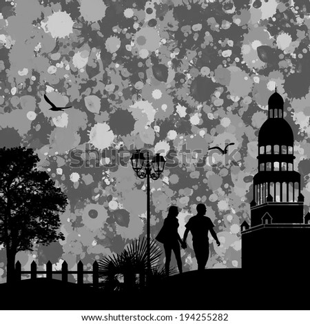 Vintage view of city on the grunge poster with grey splash and couple, vector illustration - stock vector