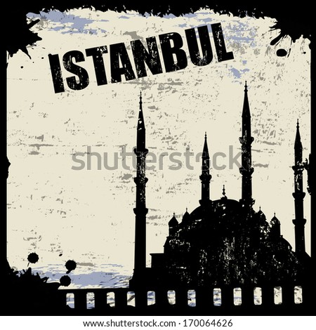 Vintage view of Istanbul on the grunge poster, vector illustration - stock vector