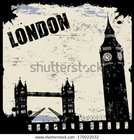 Vintage view of London on the grunge poster, vector illustration - stock vector