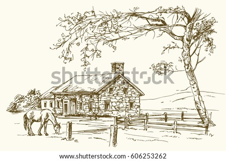 Vintage View Of New England Farm With Horse Hand Drawn Vector Illustration