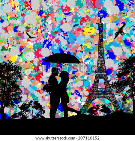 Vintage view of Paris on the grunge poster with colored splash and couple in love, vector illustration - stock vector
