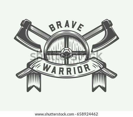 Vintage Vikings Motivational Logo Emblem Badge Stock Vector ...