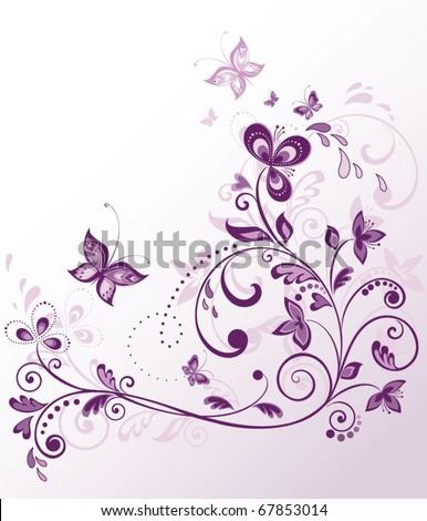 Vintage violet border - stock vector