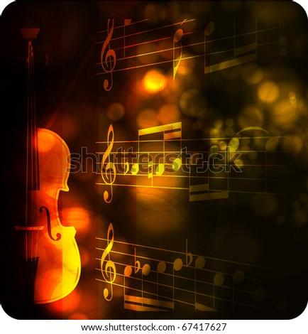 vintage violin silhouette with note on black - stock vector