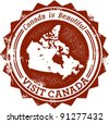 Vintage Visit Canada Stamp - stock vector