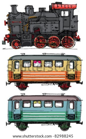 vintage wagons and steam locomotive