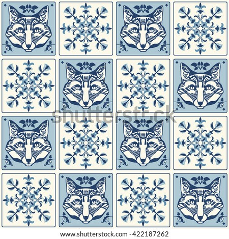 Vintage wall tiles pattern - stock vector