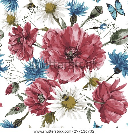 Vintage watercolor bouquet of wildflowers, shabby seamless pattern with poppies daisies cornflowers, watercolor vector illustration, ladybird bee and blue butterflies on white background - stock vector