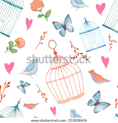Vintage watercolor cage pattern. Hand painted vector seamless texture with plants, cages, branches, hearts, butterfly and birds.  - stock vector