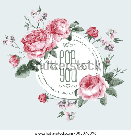 Vintage Watercolor Round Frame with Blooming English Roses. For You with Place for Your Text. Vector Illustration - stock vector