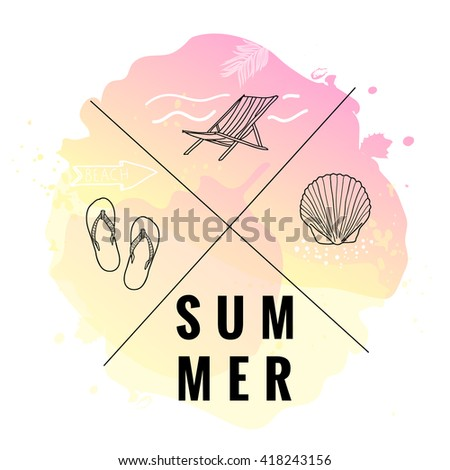 Vintage watercolor summer set. Print with typography design Summer and seashell, beach bed, flip flop icons. Tropical vector set, fashion print, T-shirt design.  - stock vector