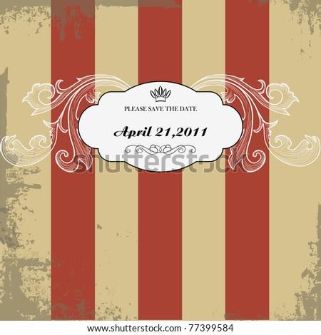 vintage wedding card - stock vector