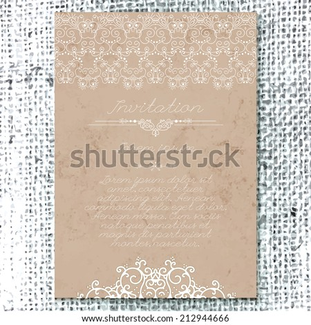 Vintage Wedding card or invitation with abstract lace decoration on a realistic burlap texture - stock vector