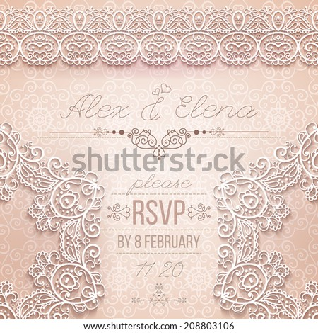 Vintage Wedding card or invitation with abstract lace seamless background and borders. vector
