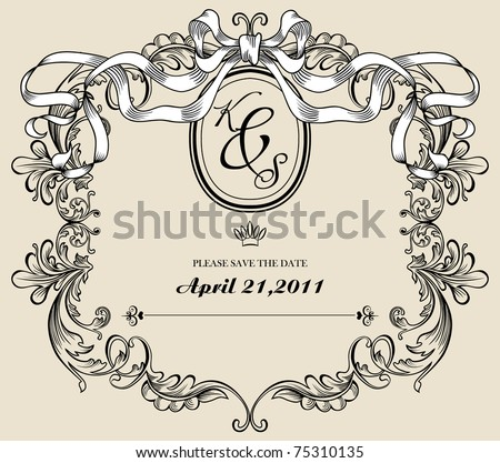 Vintage wedding card, save the date - stock vector