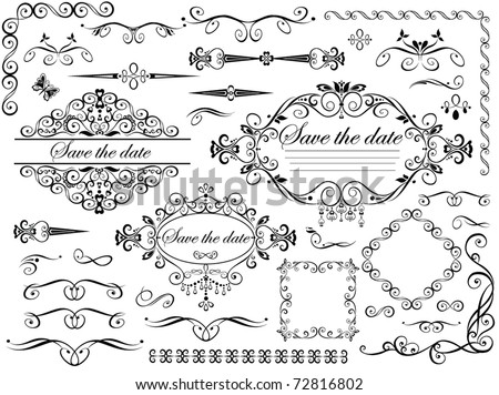 Vintage wedding design elements - stock vector