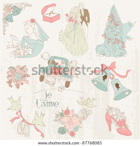 Vintage Wedding Design Elements - for Scrapbook, Invitation in vector - stock vector