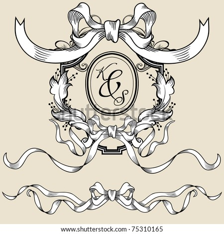 Vintage wedding frame with ribbon - stock vector
