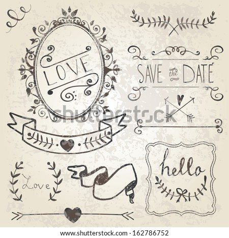 Vintage Wedding graphic set, borders, arrows, hearts, laurel, wreaths, ribbons and labels - stock vector