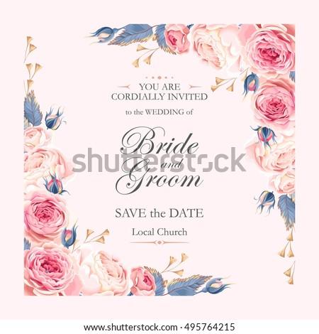 Vintage wedding invitation stock vector royalty free 495764215 vintage wedding invitation stopboris Images
